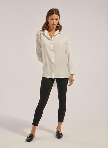 Monamoda Kare Form Poplin Gömlek Beyaz